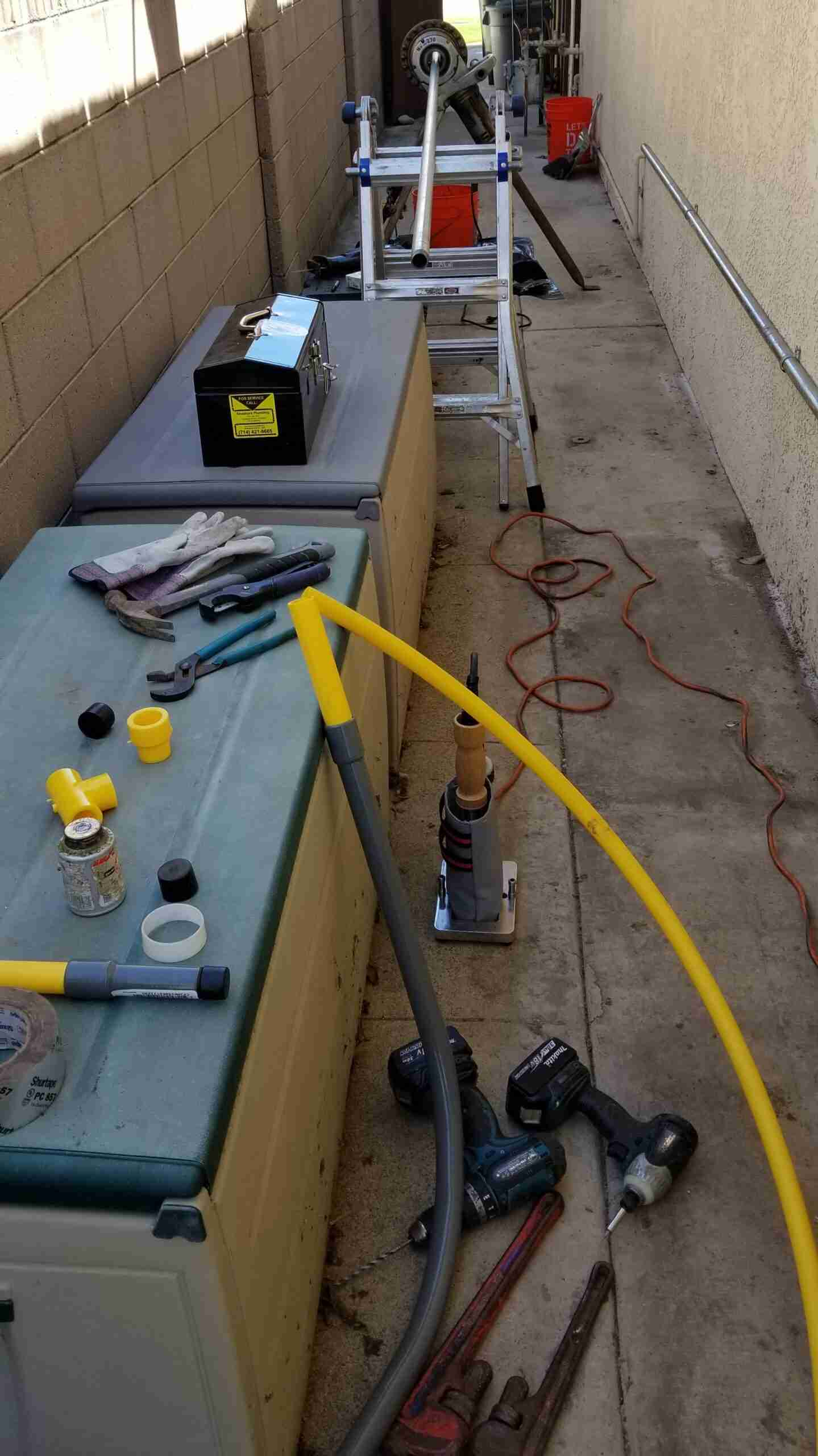 New gas service line along wall.