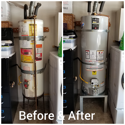 Water Heater replacement service before and after