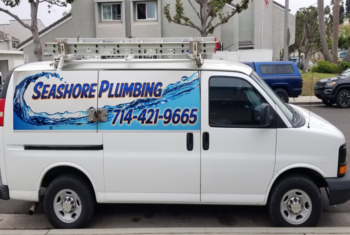 Seashore Plumbing Van parked at Shop.
